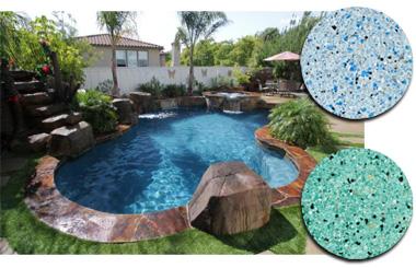Pool finishes, plaster pebble tec